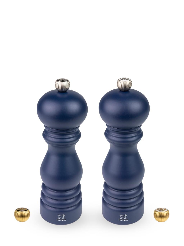 Duo moulins poivre et sel en bois bleu navy H18cm