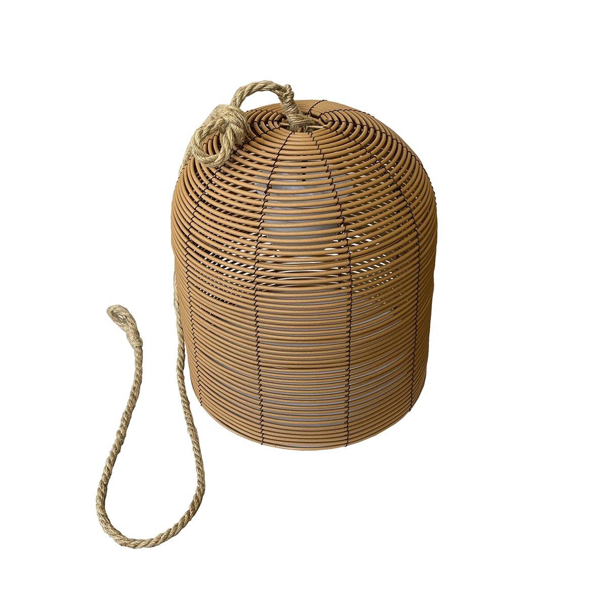 Suspension sans fil HANG BOHEME marron en poly rotin 35cm