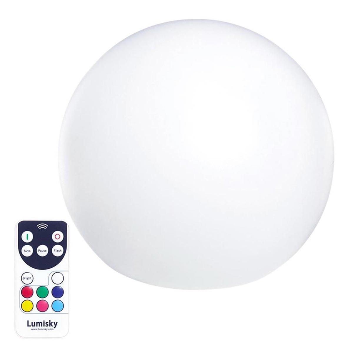 Boule lumineuse sans fil multicolore plastique blanc 30cm