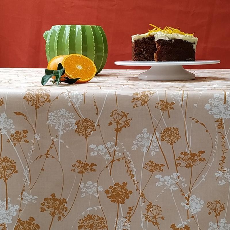Nappe enduite rectangle 160 x 300 cm marron
