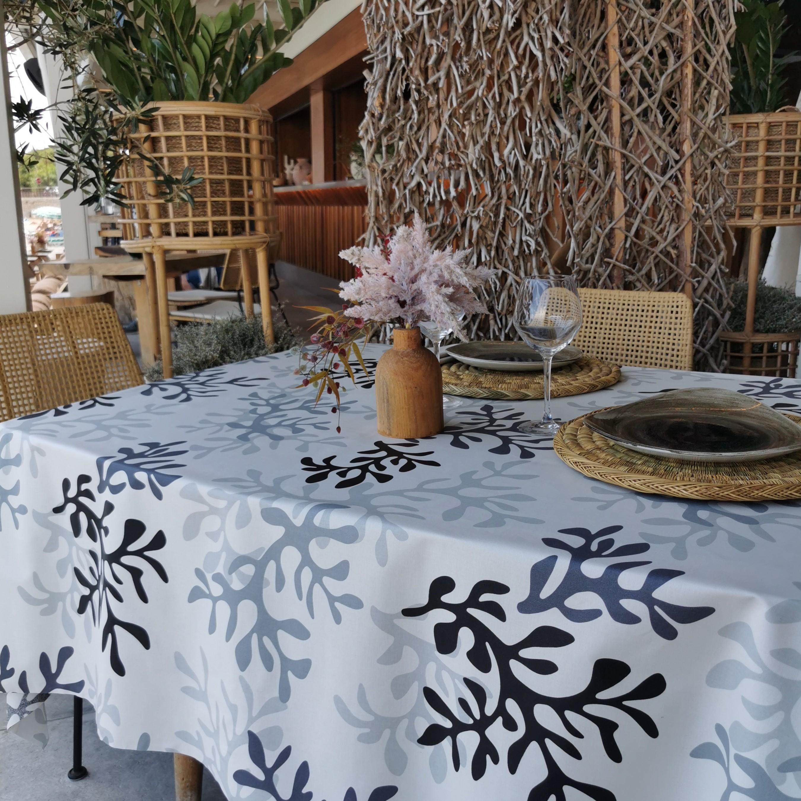 Nappe enduite carrée 160 x 160 cm gris