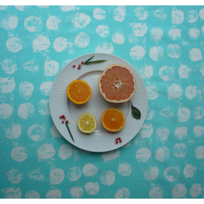 Nappe enduite rectangle 160 x 240 cm turquoise