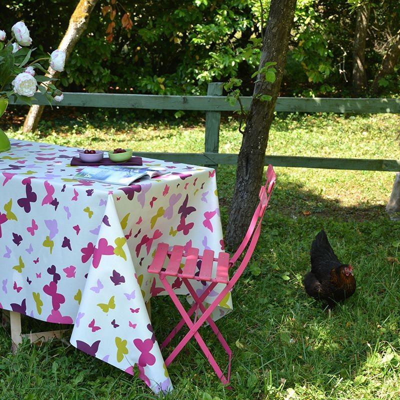 Nappe enduite carrée 120 x 120 cm prune