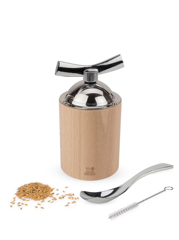 Moulin à graines de lin manuel en bois naturel et inox H13cm