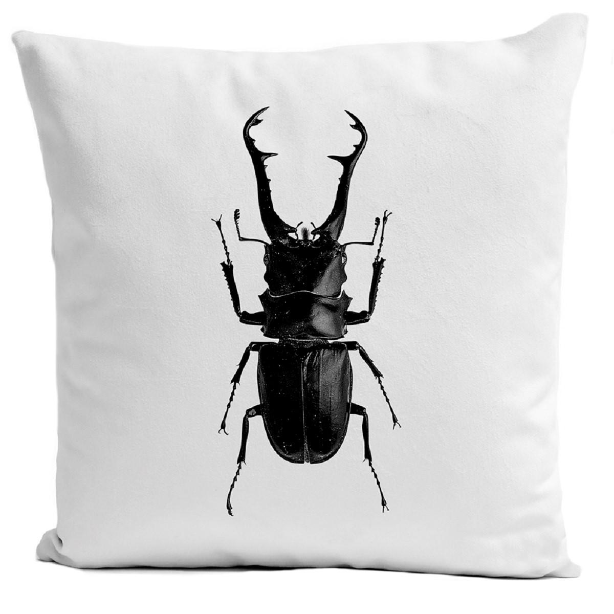 Coussin velours carré imprimé insectes blanc 60x60