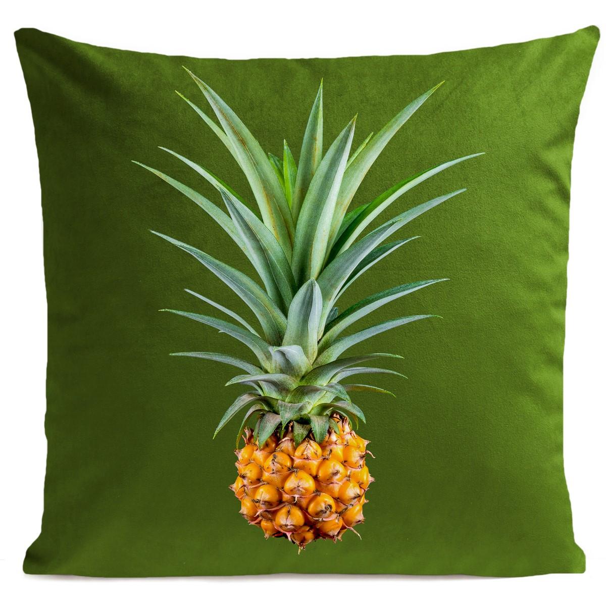 Coussin velours carré imprimé fruits vert pur 60x60