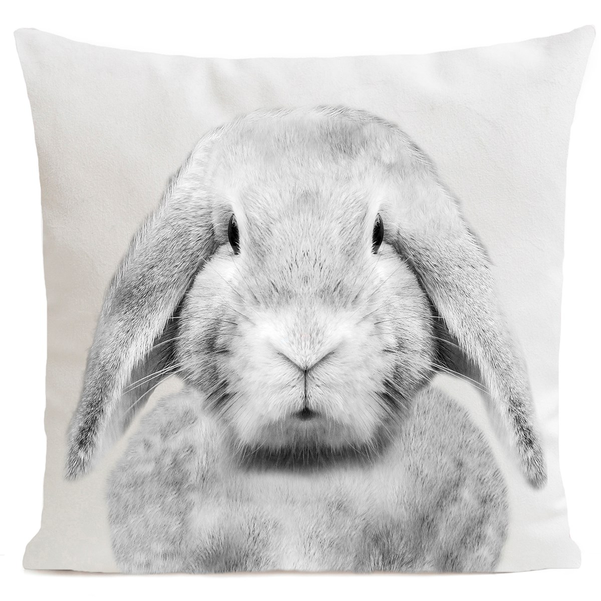 Coussin velours carré imprimé animaux blanc 40x40