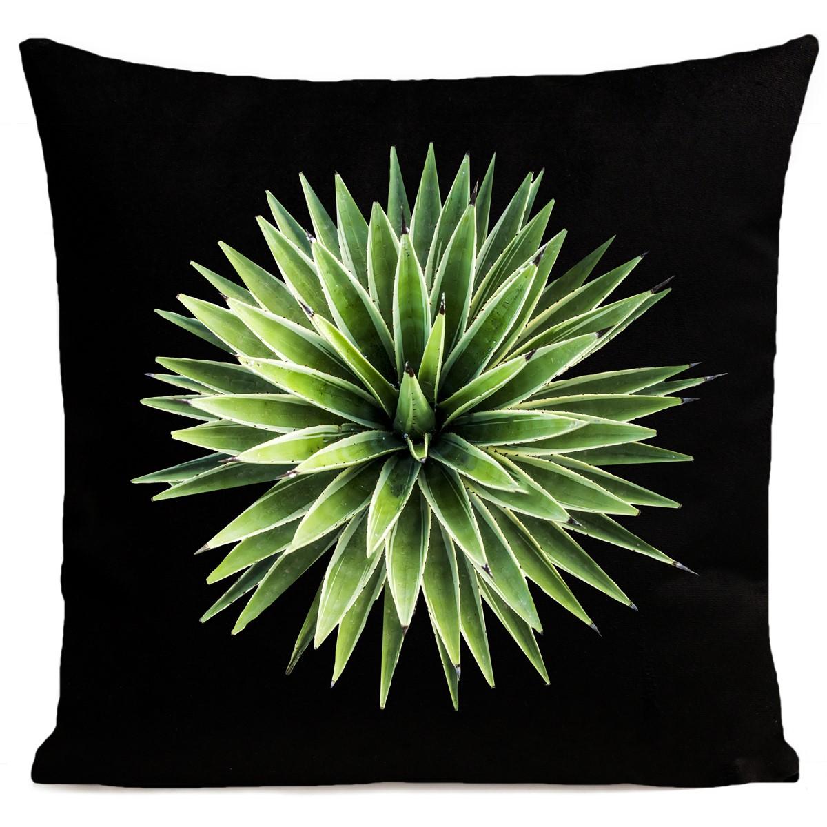 Coussin velours carré imprimé floraux noir 40x40