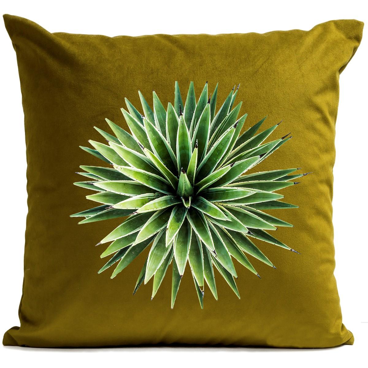 Coussin velours carré imprimé floraux vert olive 40x40