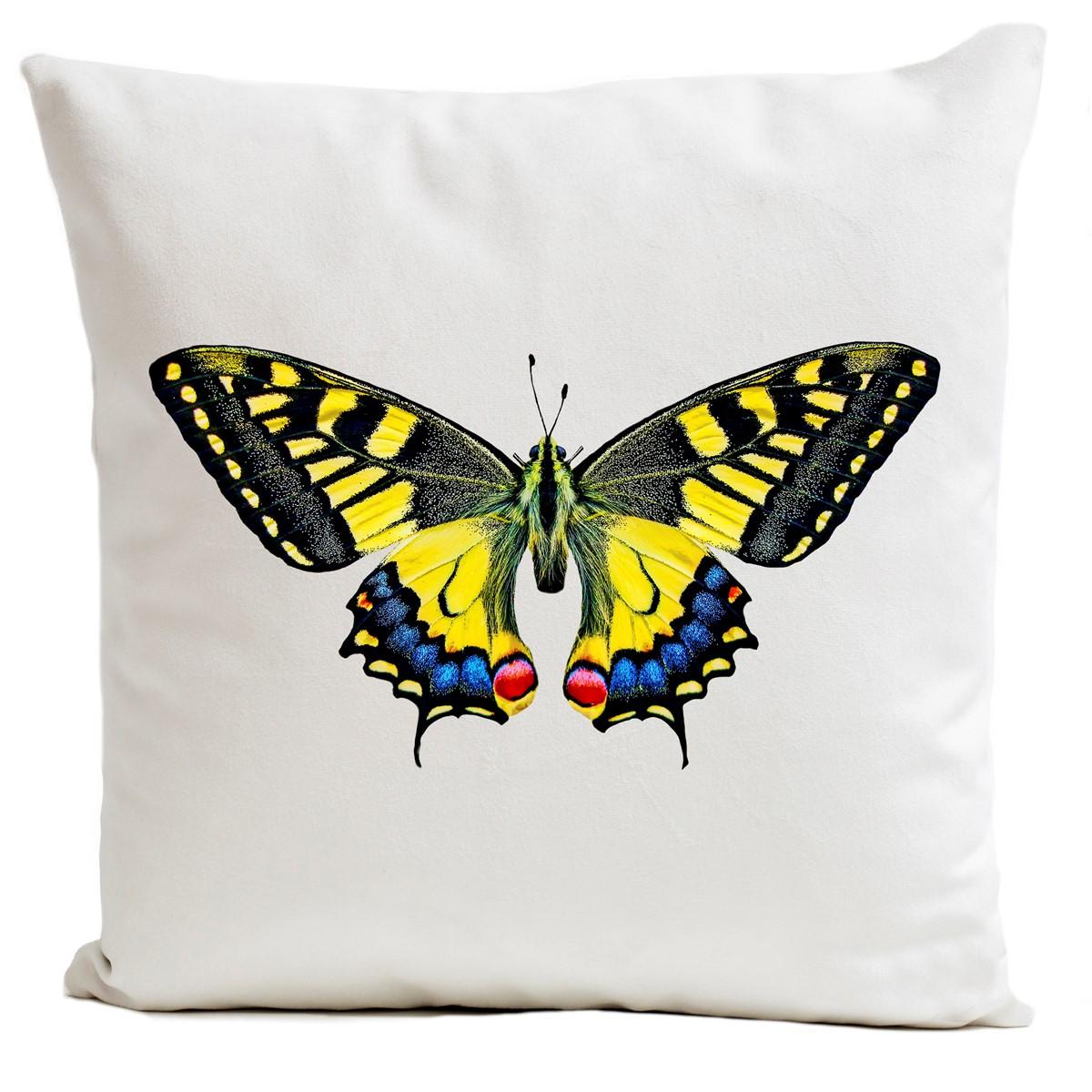 Coussin velours carré imprimé papillons blanc 60x60