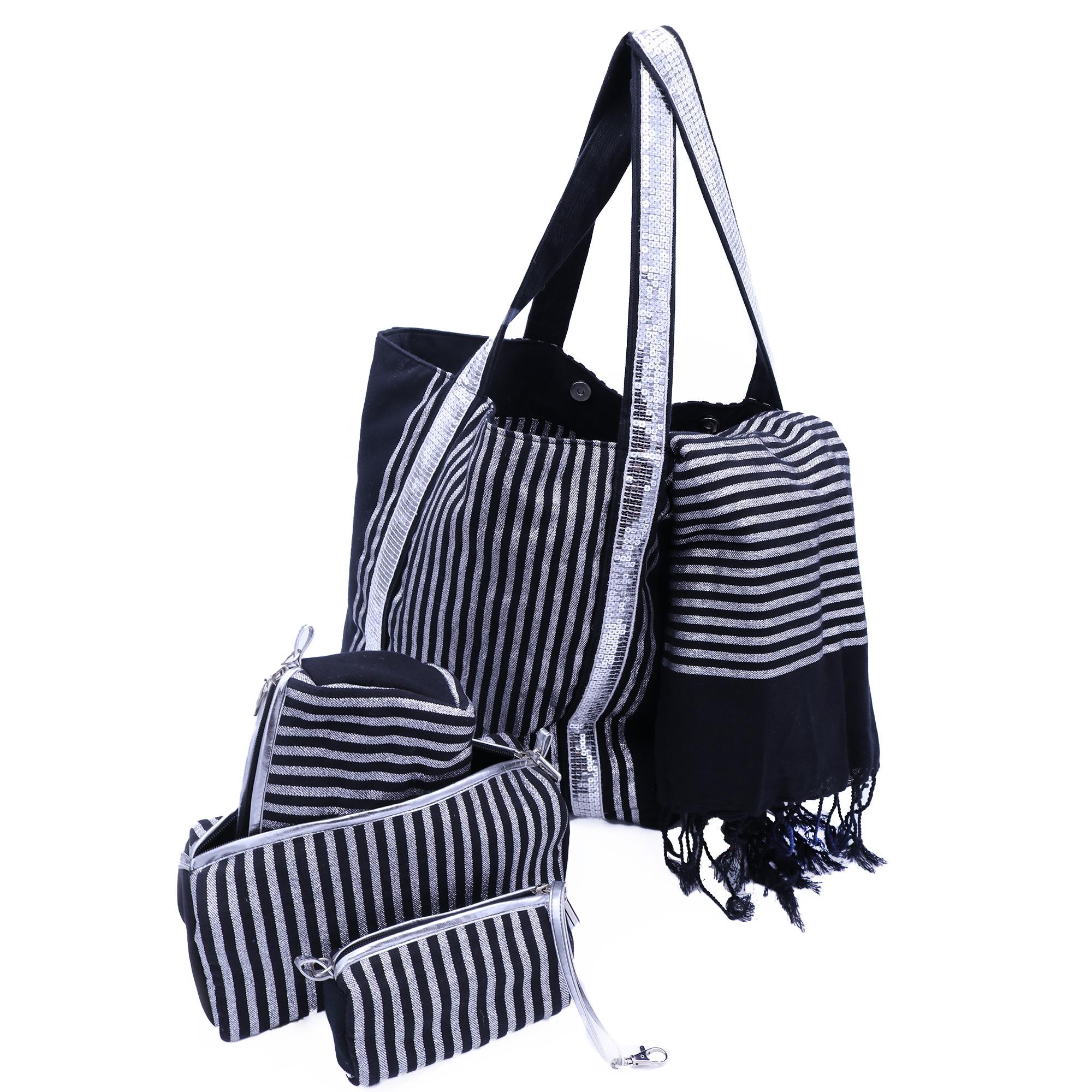 Ensemble sac cabas et accessoires en coton fouta noir et lurex argent