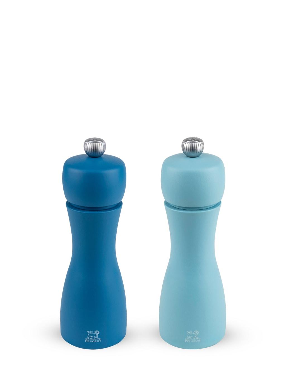 Duo moulins poivre et sel manuels bois bleus H15cm