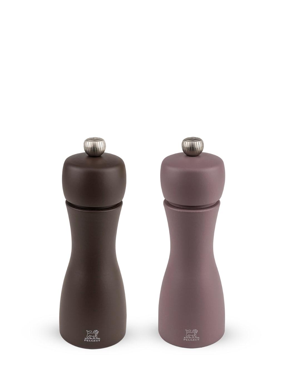 Duo moulins poivre et sel manuels bois café et praliné H15cm