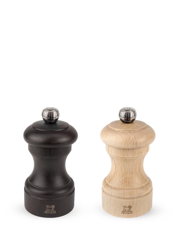 Duo moulins poivre et sel manuels bois chocolat naturel H10cm