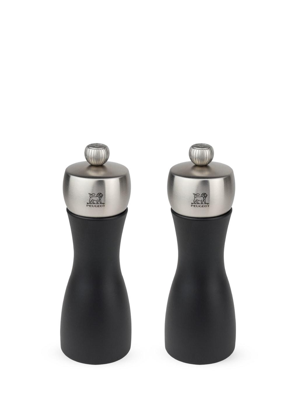 Duo de moulins à poivre et sel en bois noir et inox H15cm