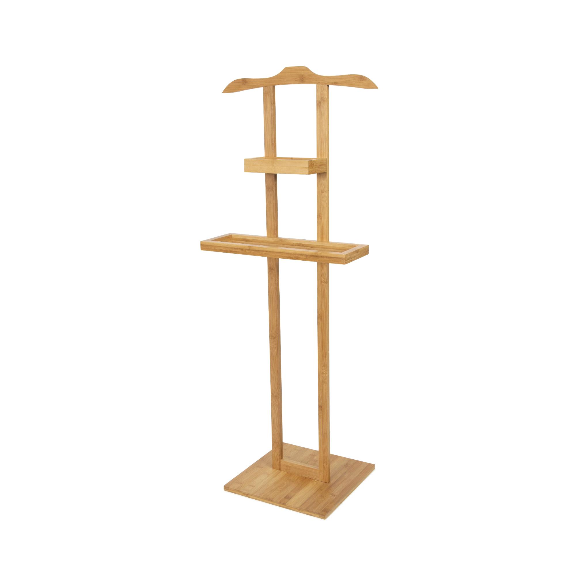 Valet de chambre en bois 2 étagères H115cm