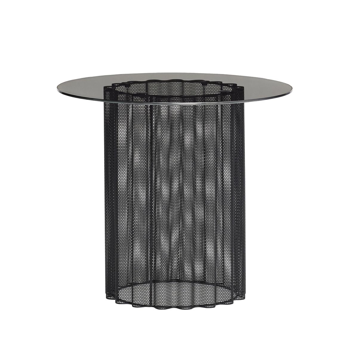 Table en verre et métal noir dépoli