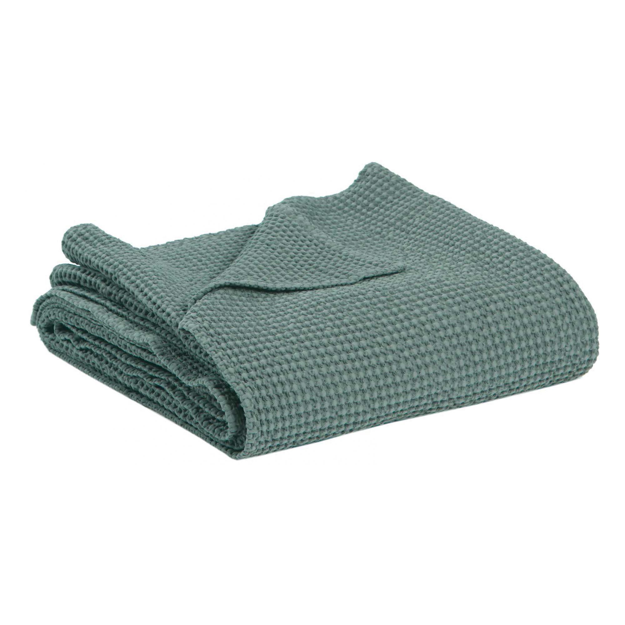 Jete en coton vert de gris 180 x 260
