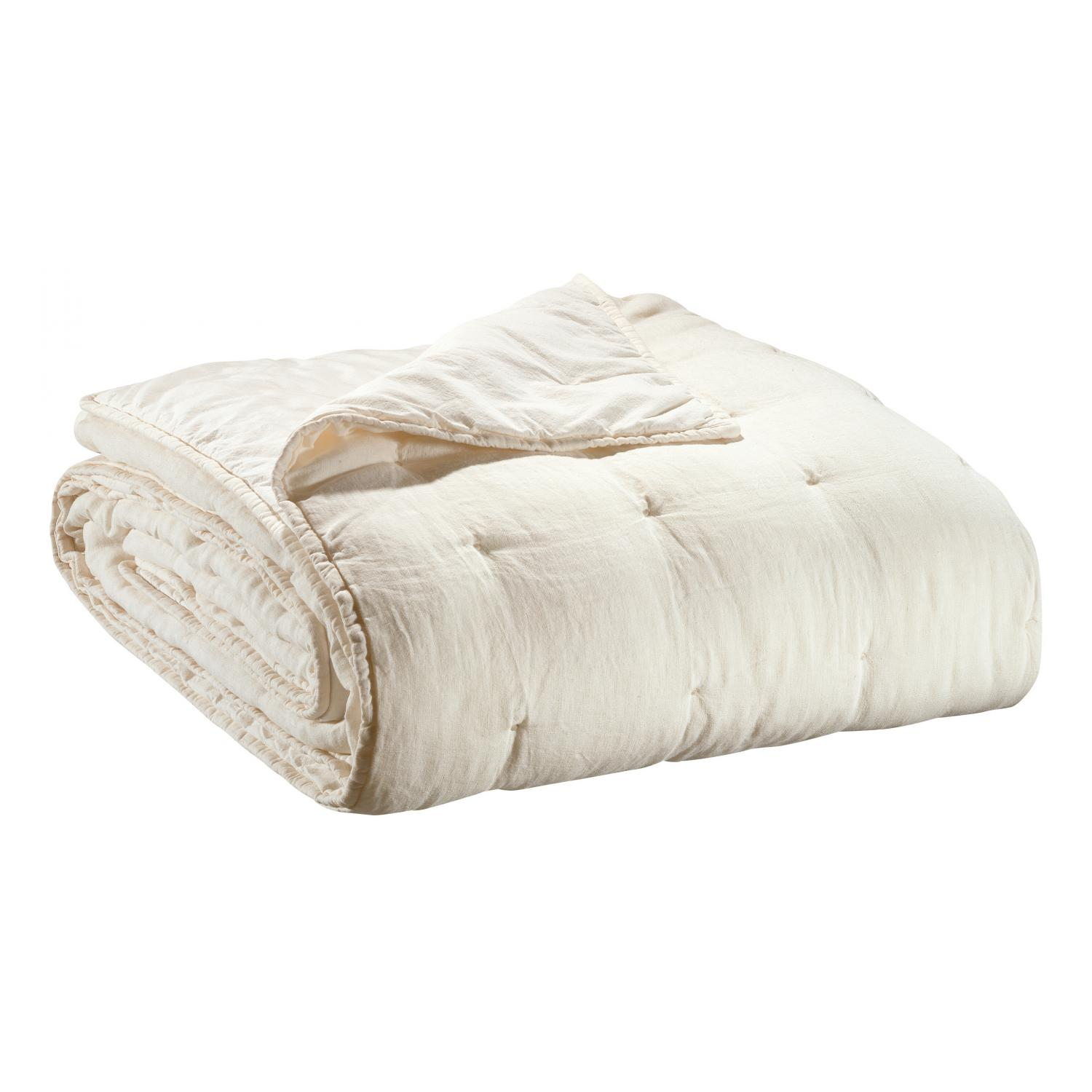 Jeté de lit   en lin craie 180 x 260
