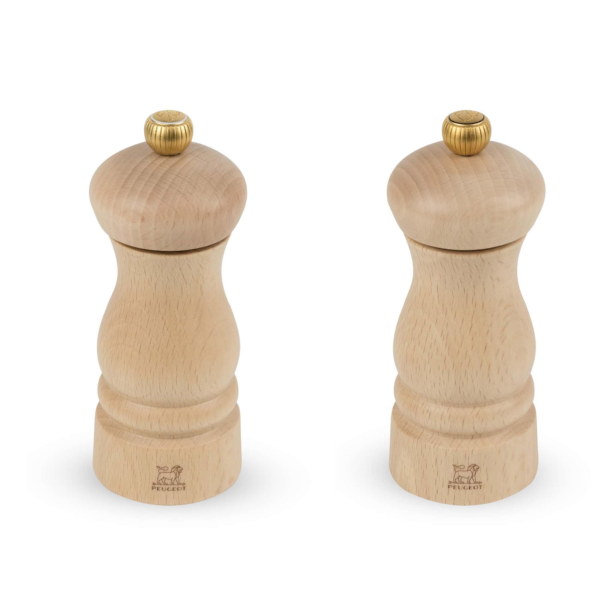 Duo de moulins à poivre et à sel en bois naturel H13cm