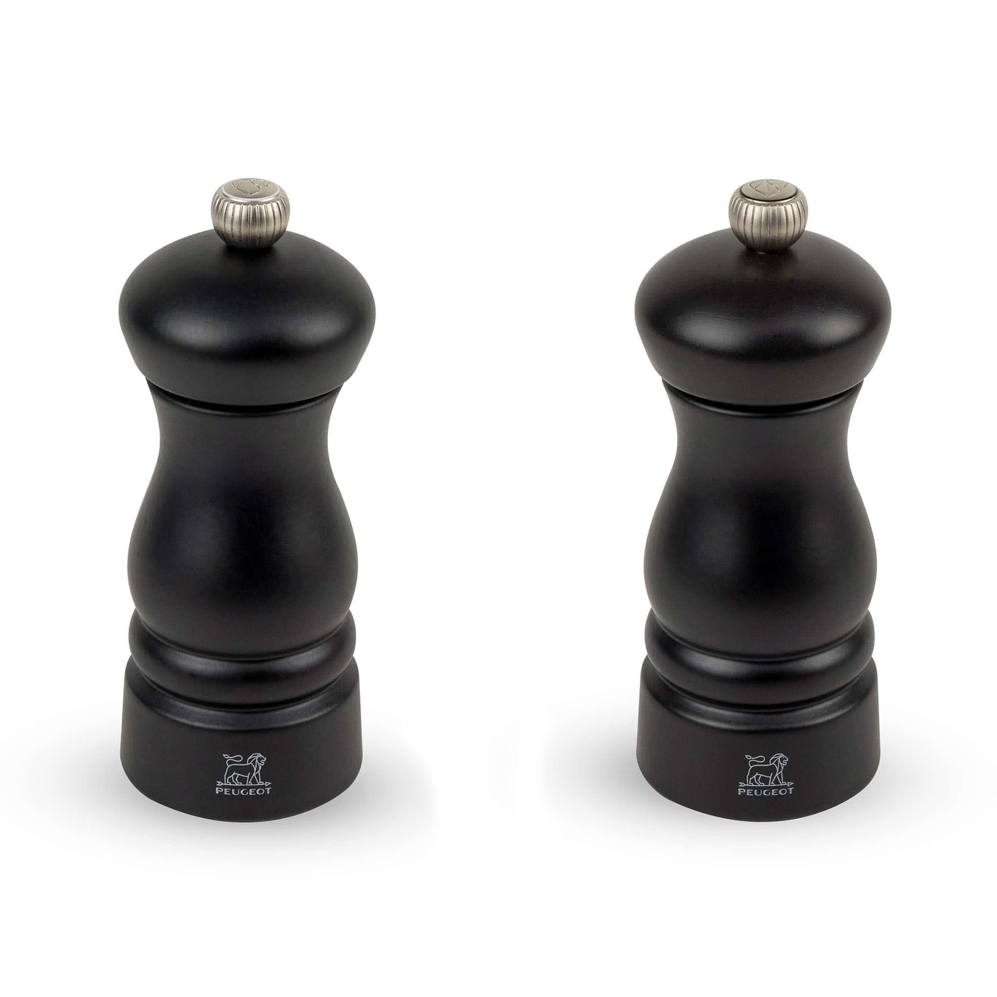 Duo de moulins à poivre et à sel en bois noir H13cm