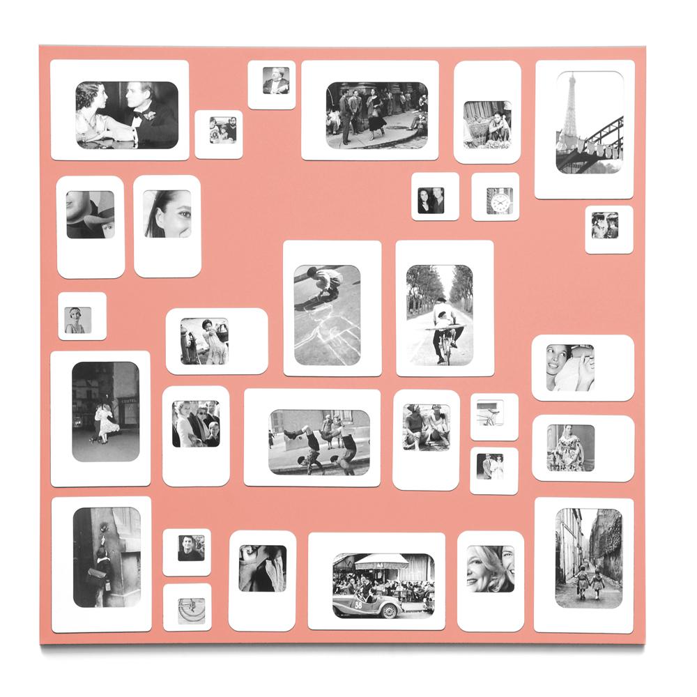 Cadre photo design pêle mêle rose 69x69cm