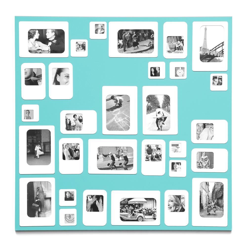 Cadre photo design pêle mêle bleu ciel 69x69cm