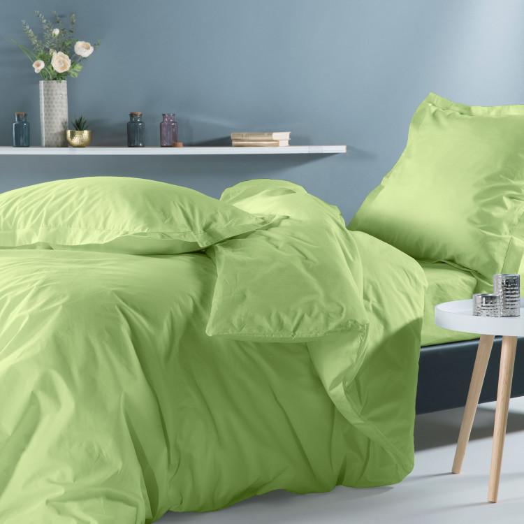 Drap housse en percale vert 140x190