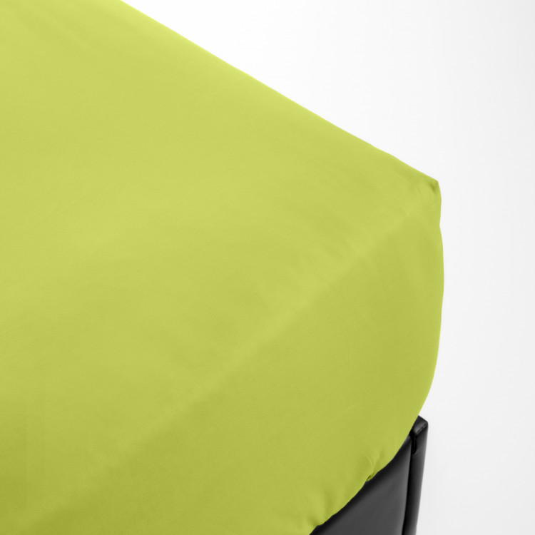 Drap housse en percale vert 90x200