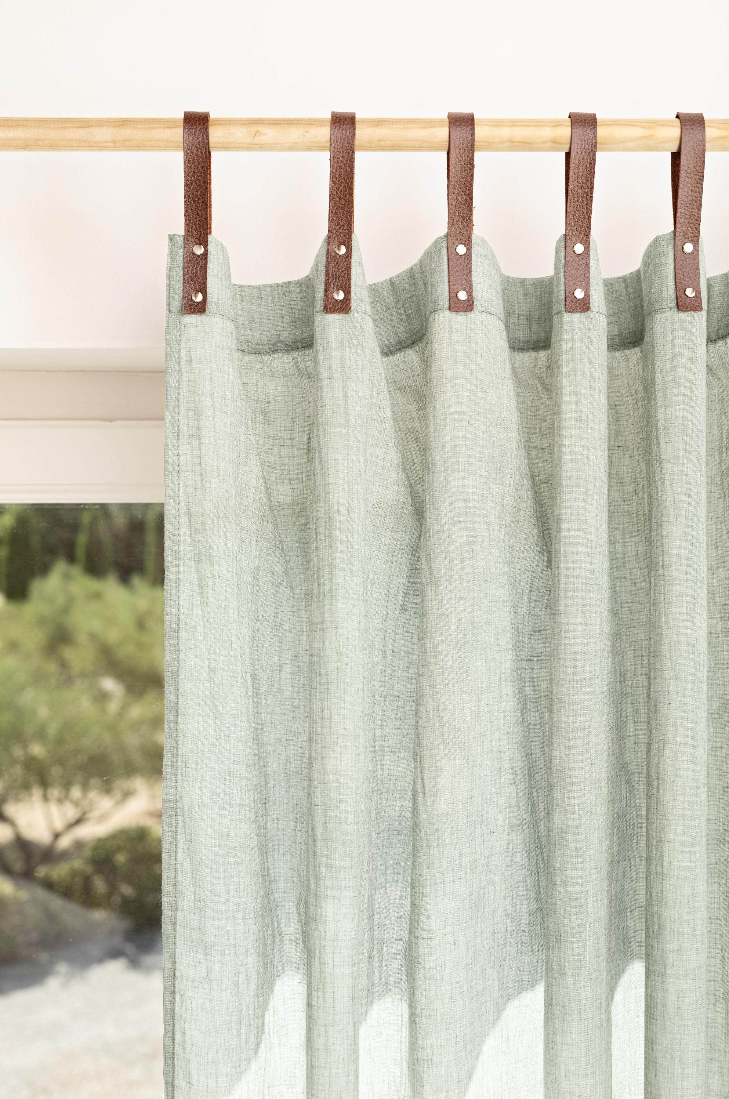 Panneau voilage finition pattes aspect cuir vert jade 245 x 135