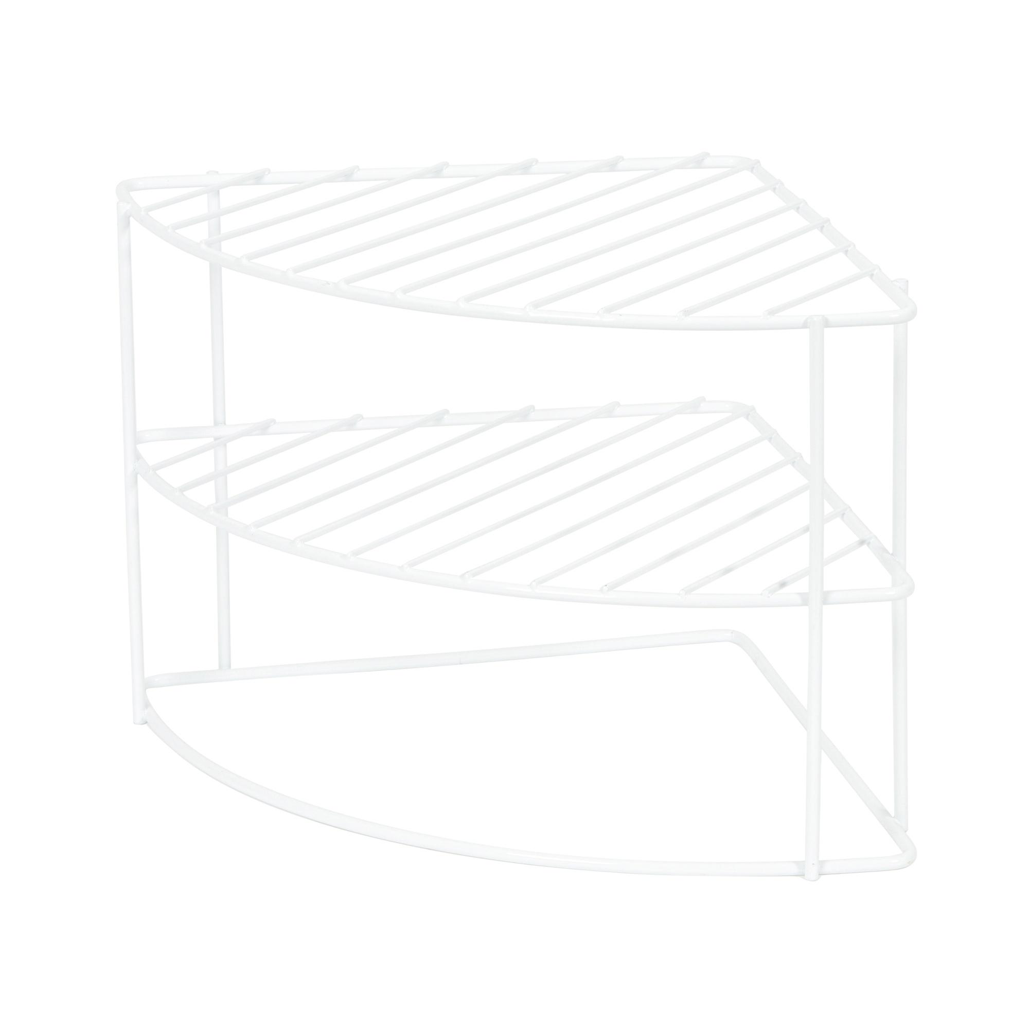 Étagère d'angle pour vaisselle en acier laqué blanc 26x26cm (photo)