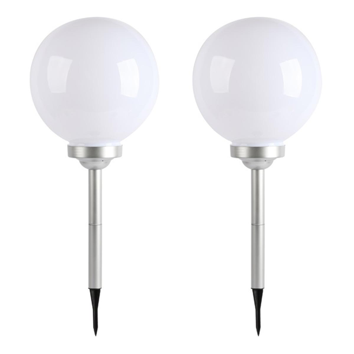 Lot de 2 Boules solaires plastique blanc ∅30 cm
