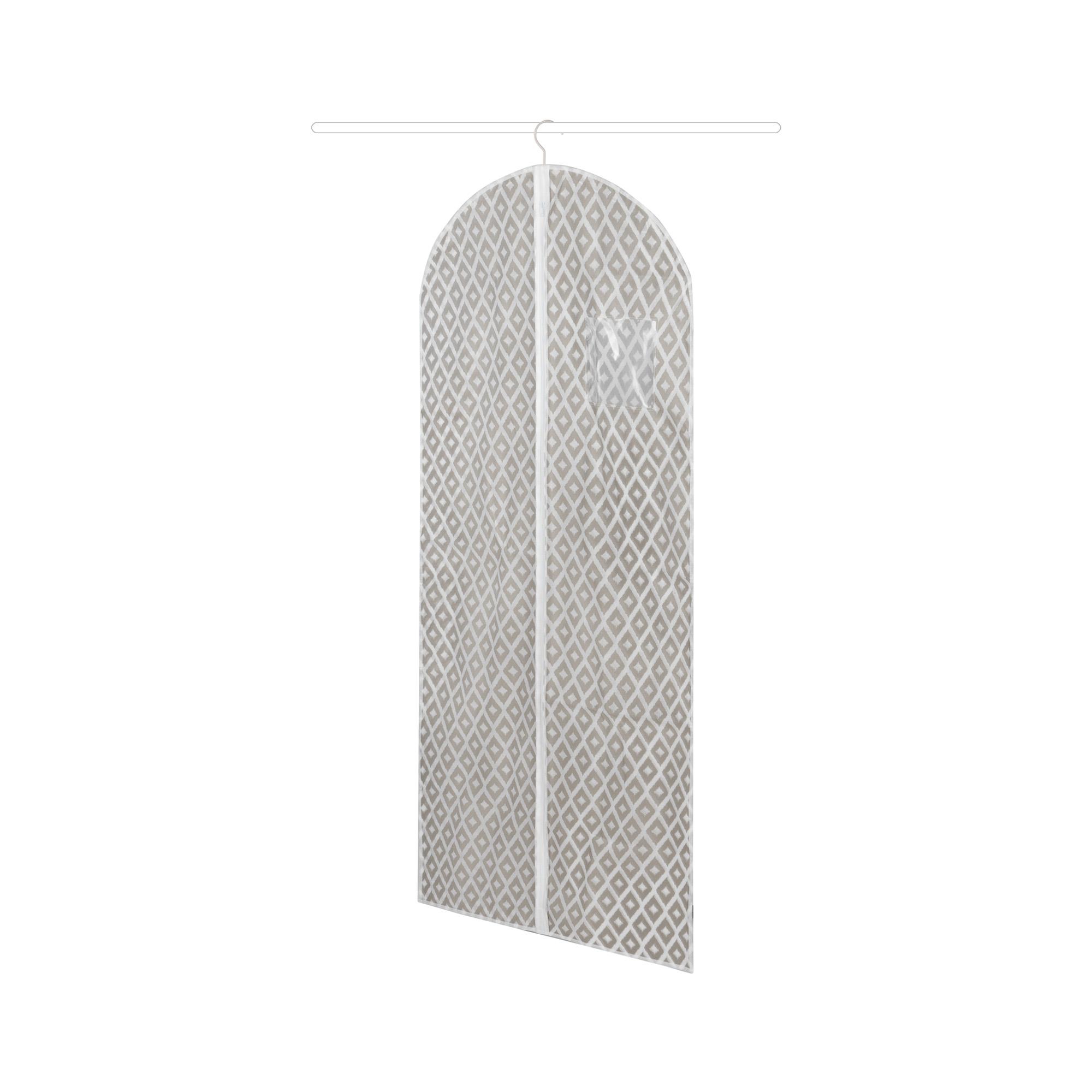 Housse pour vêtements taupe à losanges 60x137cm