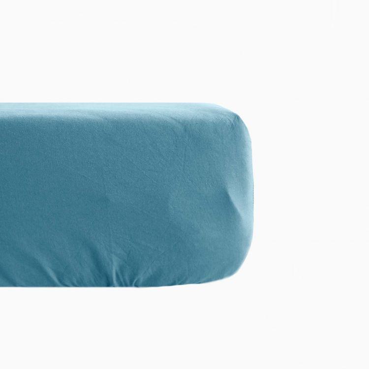 Drap housse en lin coton bleu 140x190