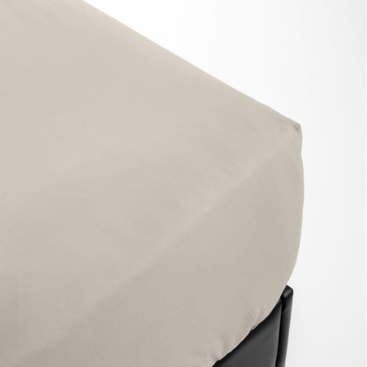 Drap housse en percale beige 160x200
