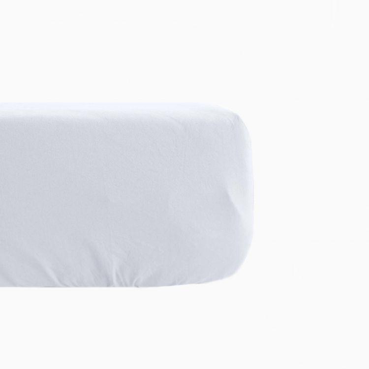 Drap housse en lin coton blanc 140x190