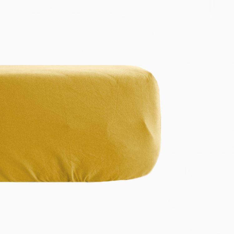 Drap housse en lin coton jaune 160x200