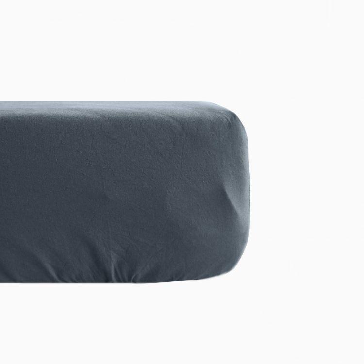 Drap housse en lin coton gris 140x190