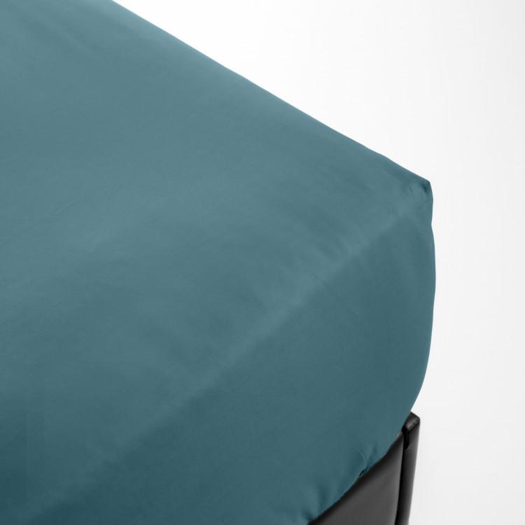 Drap housse en percale bleu 90x190