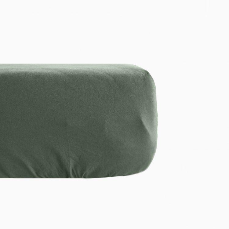 Drap housse en lin coton vert 140x190