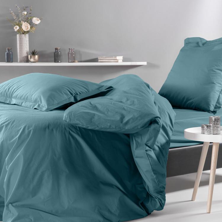 Drap housse en percale bleu 180x200