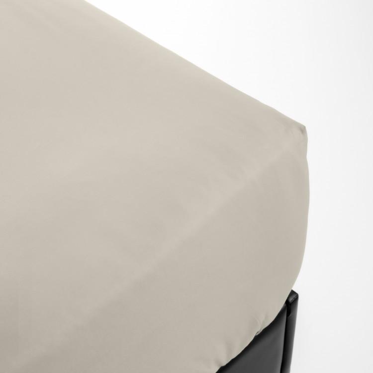Drap housse en percale beige 70x190