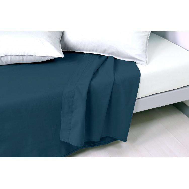 Drap plat en coton bleu 270x300