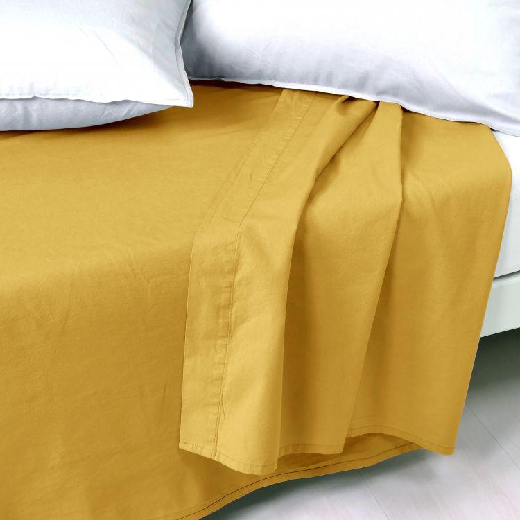 Drap plat en coton jaune 240x300