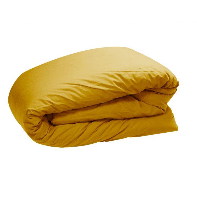 Housse de couette en 100% coton jaune 260x240
