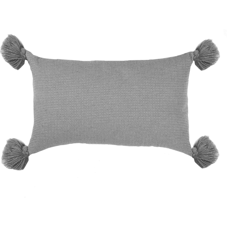 Housse de coussin en coton pompons 50x30 Gris moyen