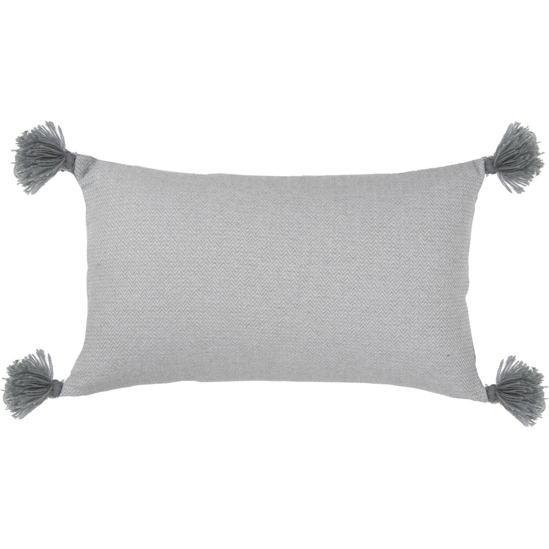 Housse de coussin en coton pompons 50x30 Gris perle