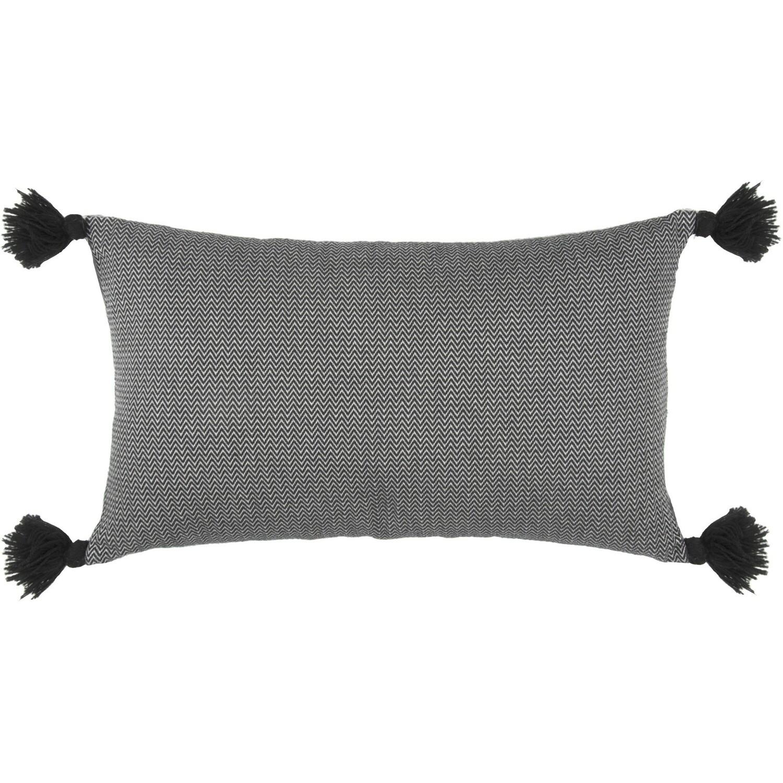 Housse de coussin en coton pompons 50x30 Noir