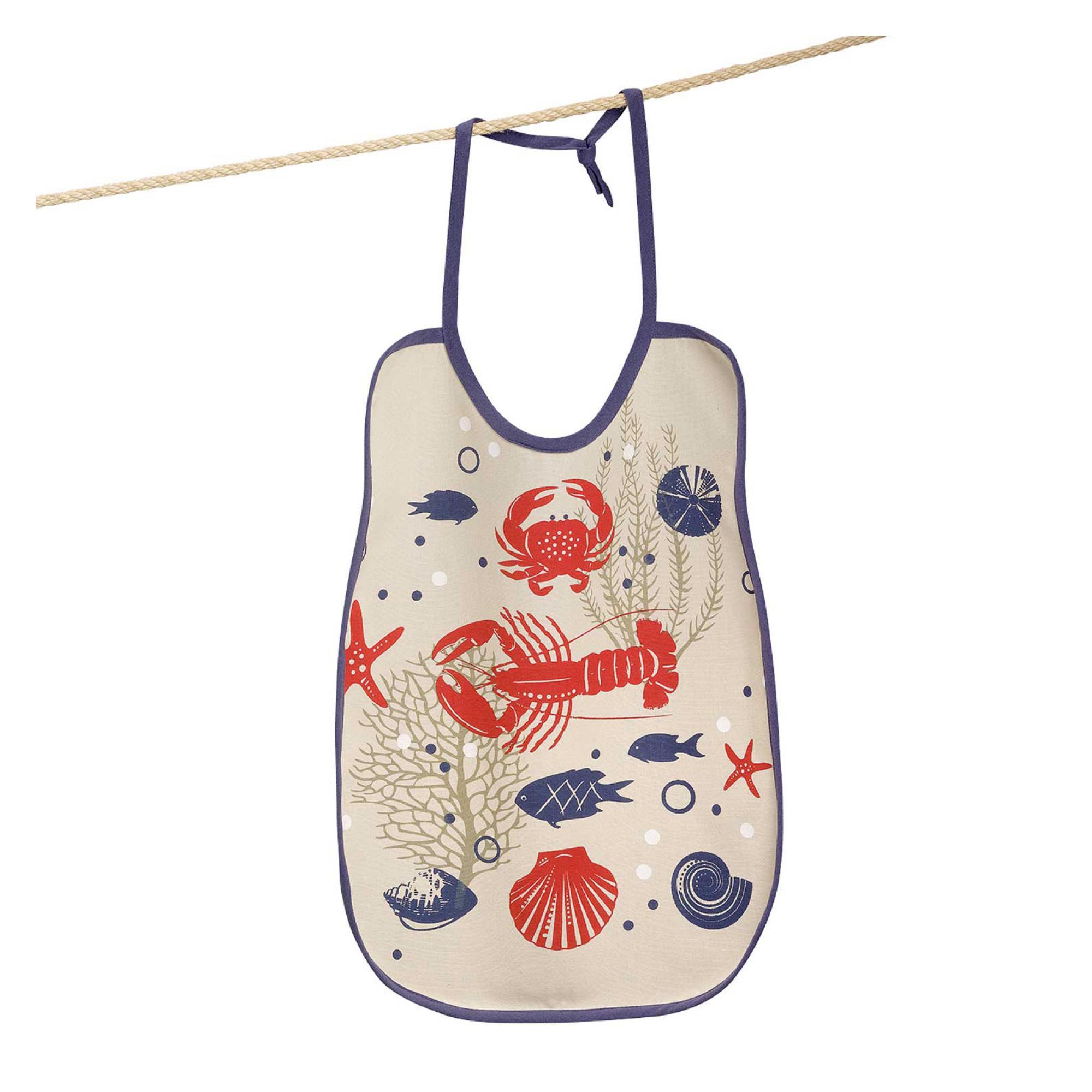 Bavoir Crustacés en coton ficelle 40 x 55