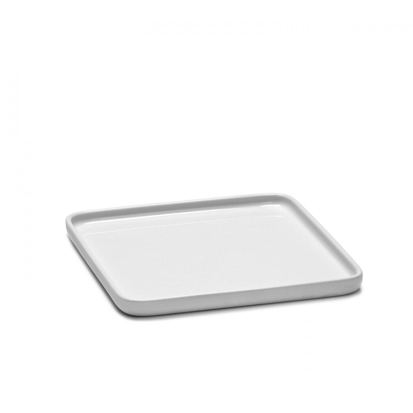 Assiette carrée en porcelaine blanche 16x16cm